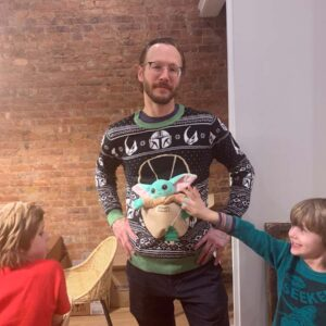 Josh's Christmas gift was a Baby Yoda sweater with a stuffed Baby Yoda sewed on. Everyone thought it was super funny!