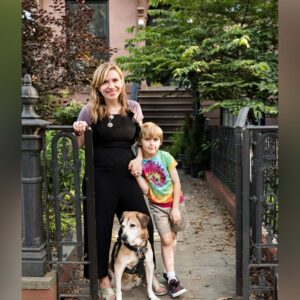 Maggie, Magnus, and our late dog, Bailey, who we miss very much, at front of our house in Brooklyn