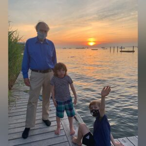 Grandpa, Magnus, and Axel at sunset on Long Island. Such a relaxing place to unwind