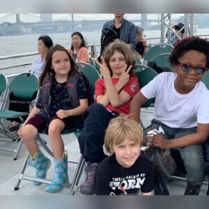 School friends with Magnus on a field trip on a ferry boat!