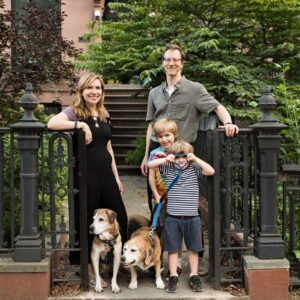 Family photo with our two late dogs before Margene was born. Great memories in front of our house in Brooklyn