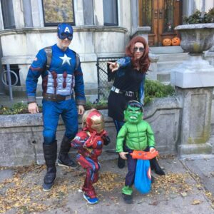 Celebrating Halloween dressed as the Avengers. So much fun!